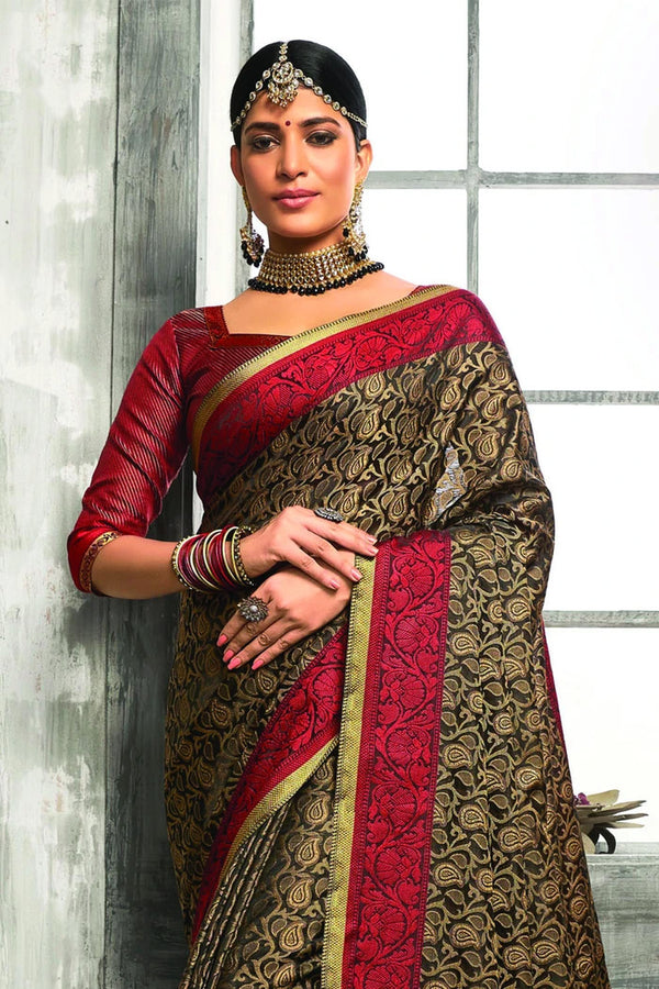 Beautiful Black Tanchoi Banarasi Saree