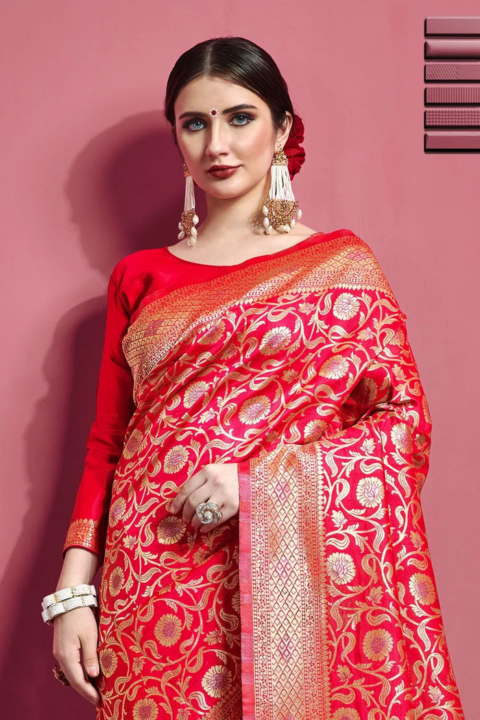 Torch Red Woven Banarasi Brocade Saree