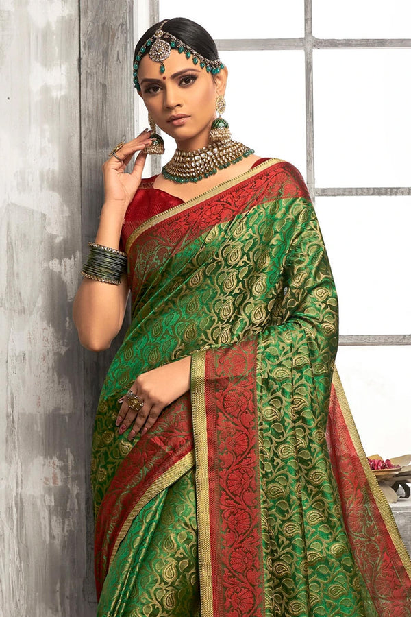 Killarney Green Tanchoi Banarasi Saree