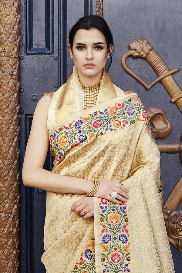 Golden Cream Banarasi Saree