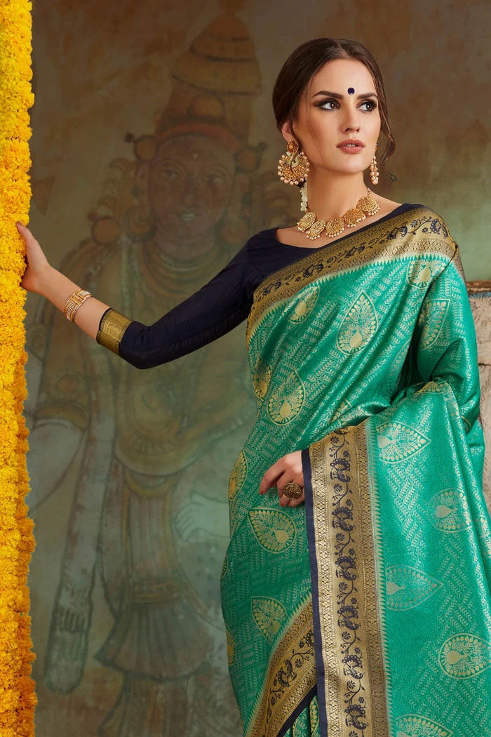 Jungle Green Woven Banarasi Saree