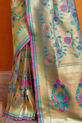 Sky Blue Golden Woven Paithani Saree