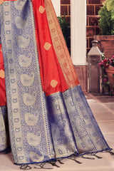 Chinnabar Red Designer Banarasi Saree