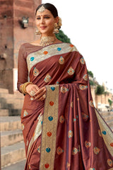 Nutmeg Brown Zari Woven Banarasi Saree