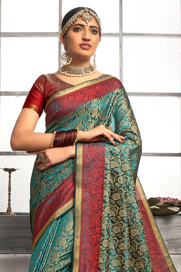 Lochinvar Blue Tanchoi Banarasi Saree