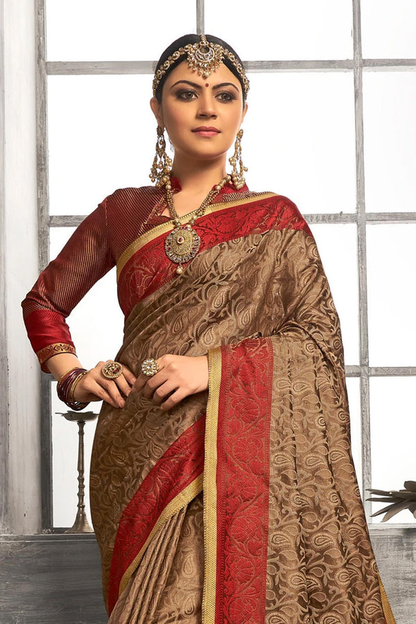 Pickled Bean Brown Tanchoi Banarasi Saree