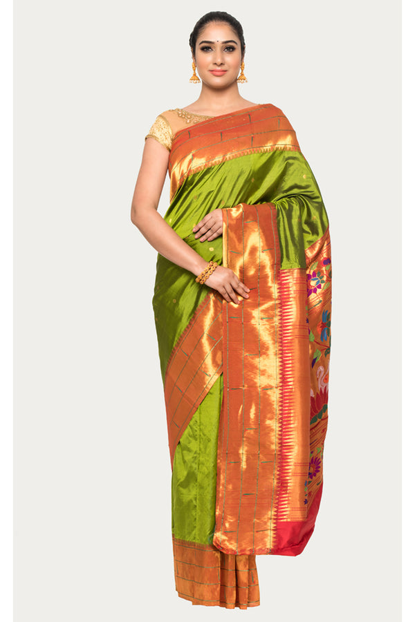 Trendy Green Handloom Paithani silk Saree