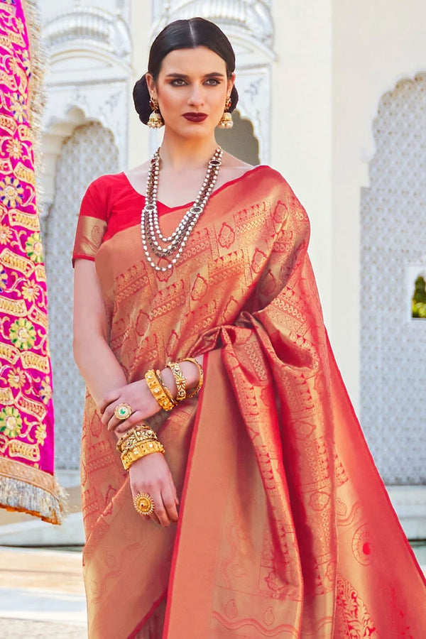 Chilli Red Woven Kanjivaram Saree