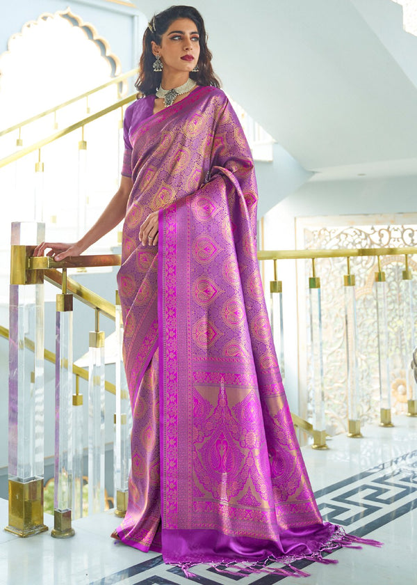 Plum Purple Zari Woven Kanjivaram Silk Saree