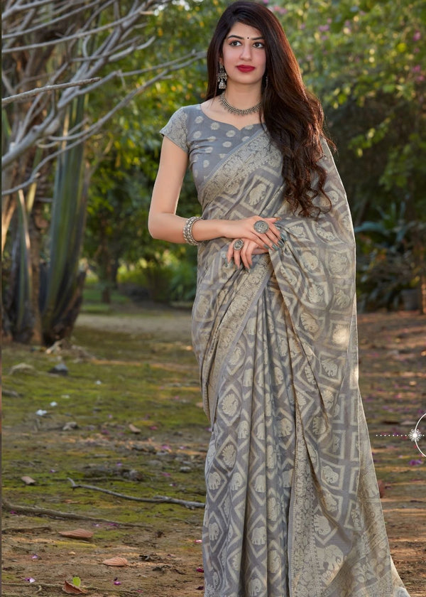 Zorba Grey Thread Woven Chikankari Saree