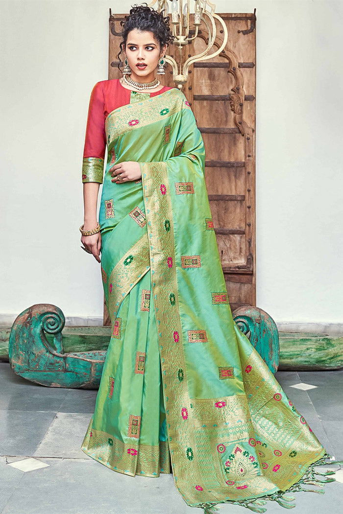 De York Green Woven Banarasi saree