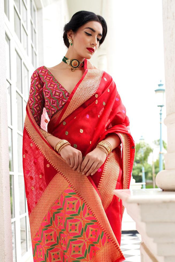 Crimson Red Zari Woven Banarasi Saree
