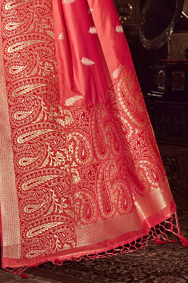 Copperfield Pink Zari Woven Banarasi Saree