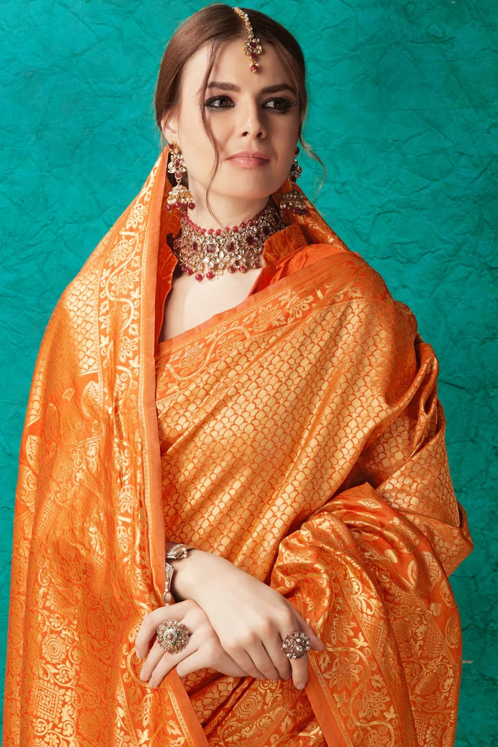 Orange Golden Zari Woven Kangivaram Saree
