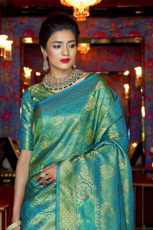 Silver Tree Green Handcrafted  Kanjivaram Saree
