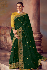 Bush Green Woven South Silk Saree