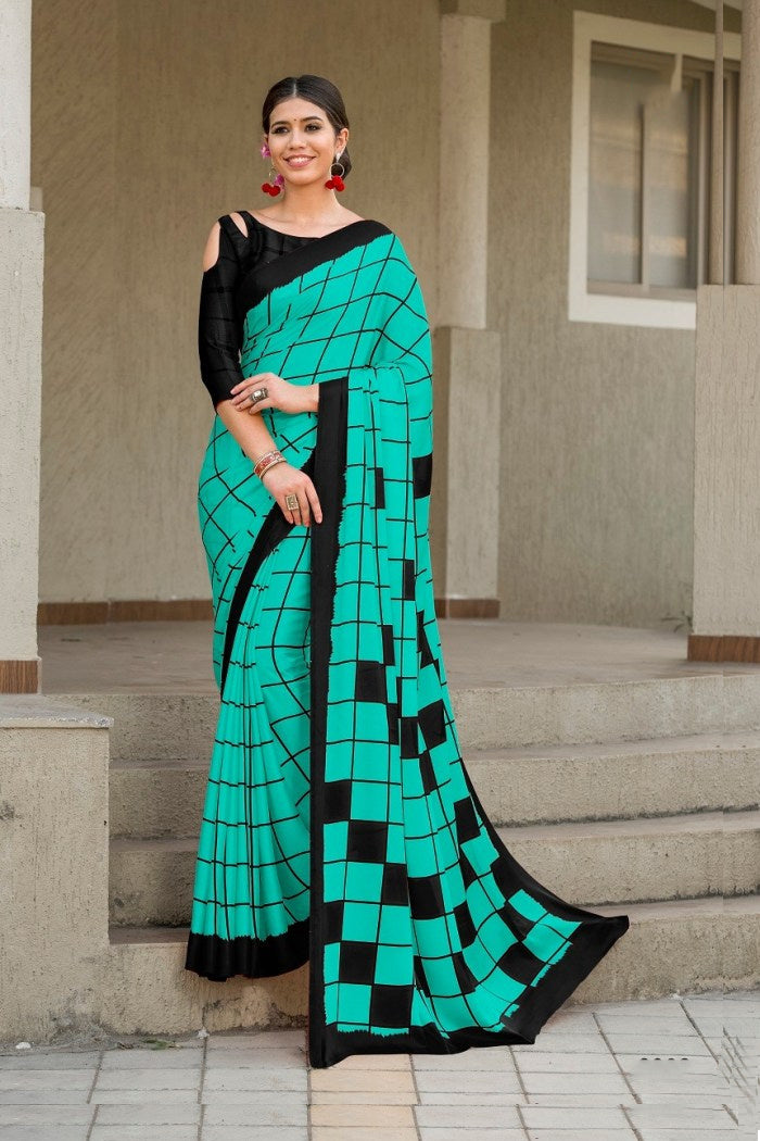 Emerald Blue Satin Silk Saree