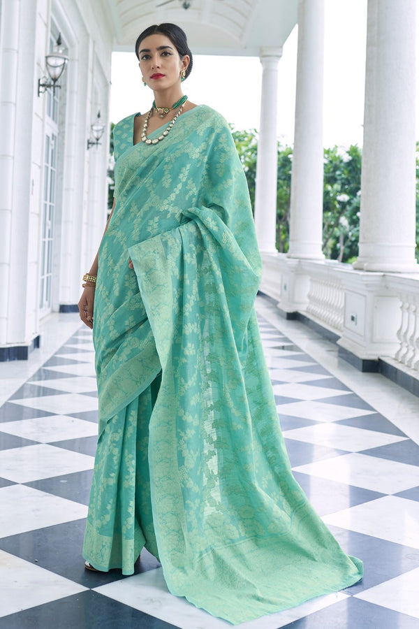 Green Sheen Chikankari Woven Saree