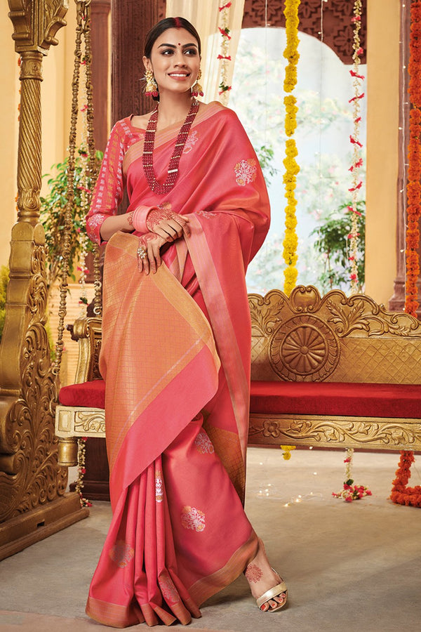 Jelly Bean Pink Zari woven Kanjivaram Silk saree