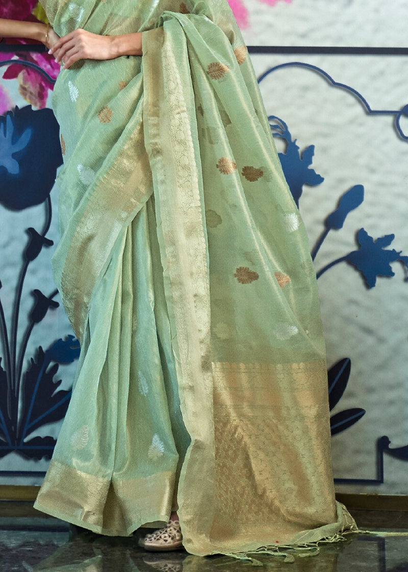 Norway Green Woven Banarasi Tissue Saree