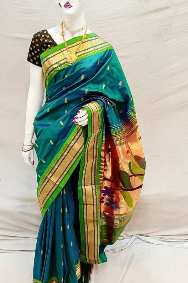 Daisy Bush Blue Handloom Paithani Saree