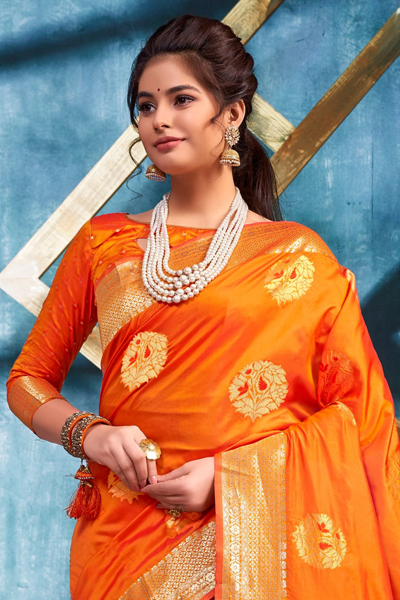 Pumpkin Orange Zari Woven Banarasi Saree
