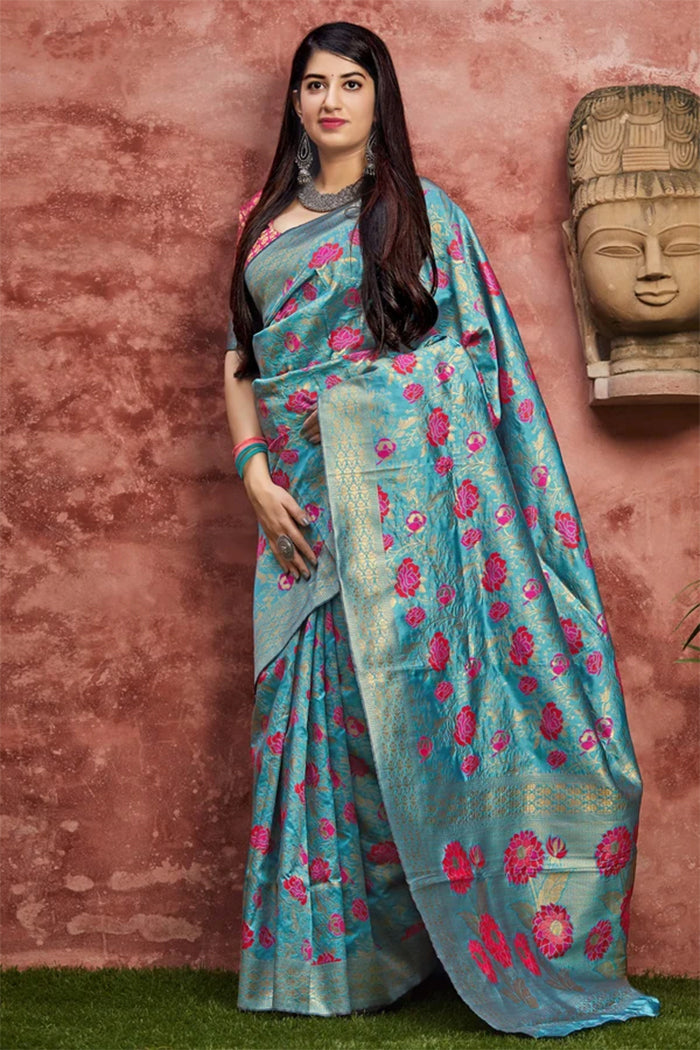 Faded Jade Blue Woven Banarasi Saree