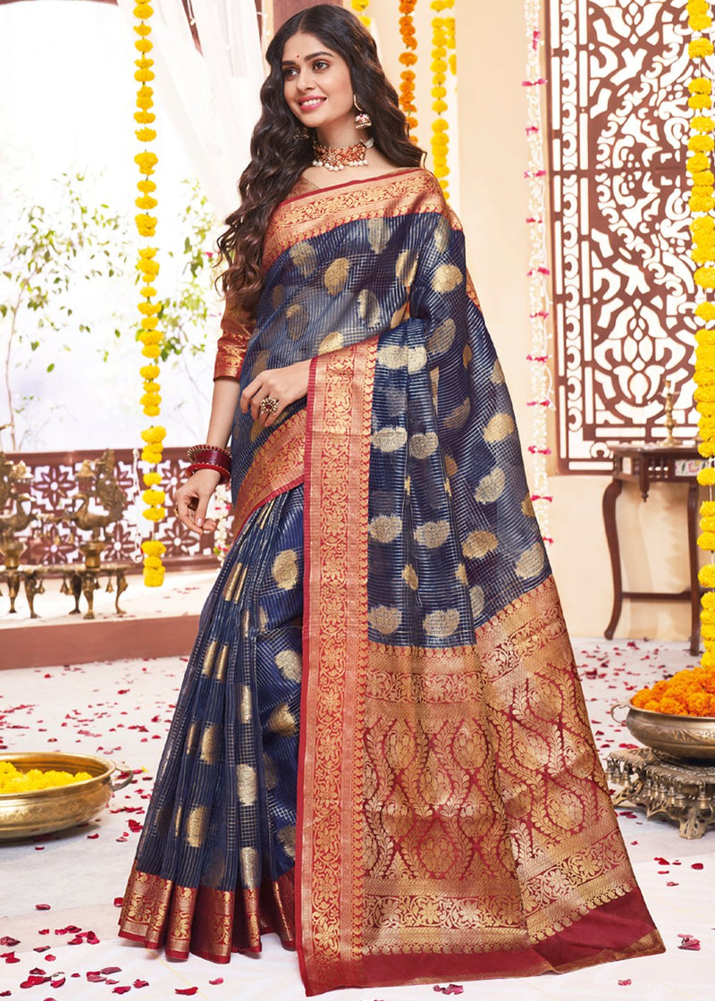 Gun Powder Blue Zari Woven Banarasi Saree