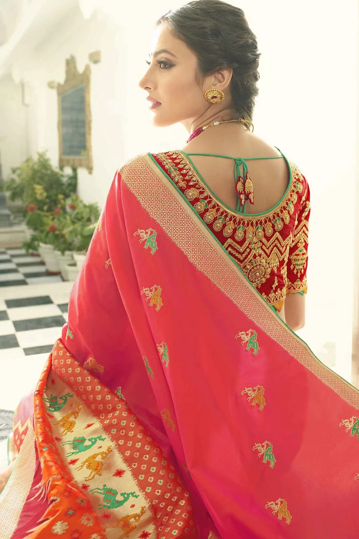 Elegant Pink Shaded Woven Designer Patola Saree