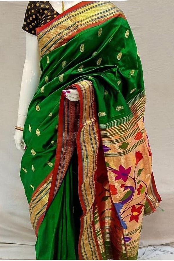 Bridal Green Handloom Paithani Saree