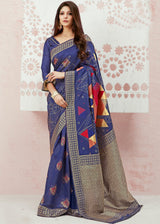 East Bay Blue Zari Woven Banarasi saree