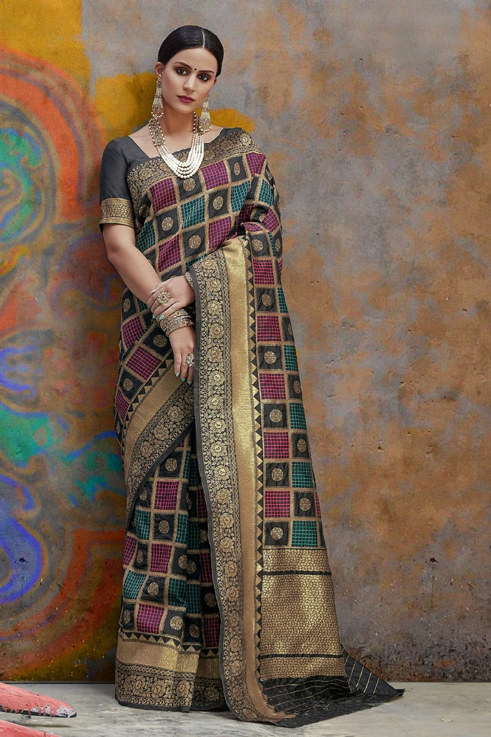 Midnight Black Woven Banarasi Saree