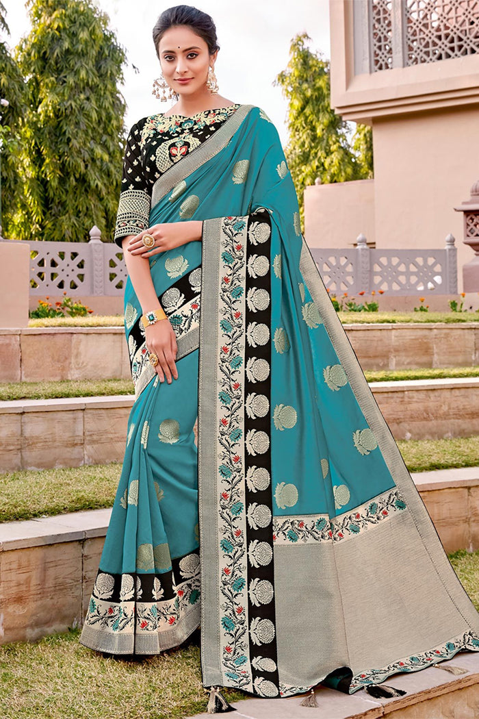 Malachite Blue Woven Banarasi Saree