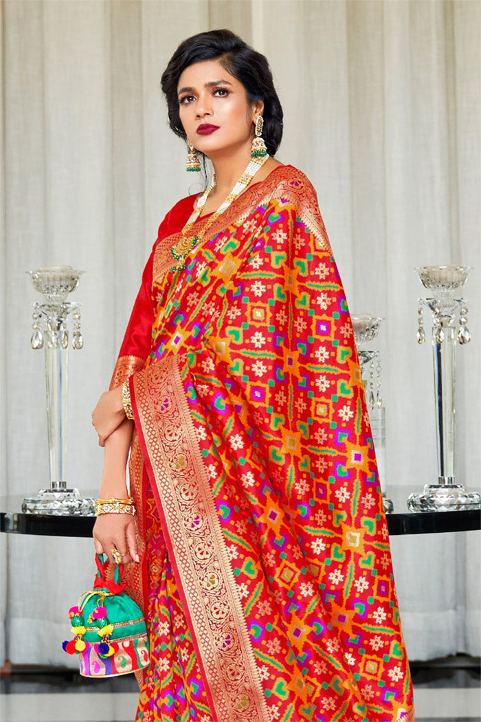 Chilli Red Woven Patola saree
