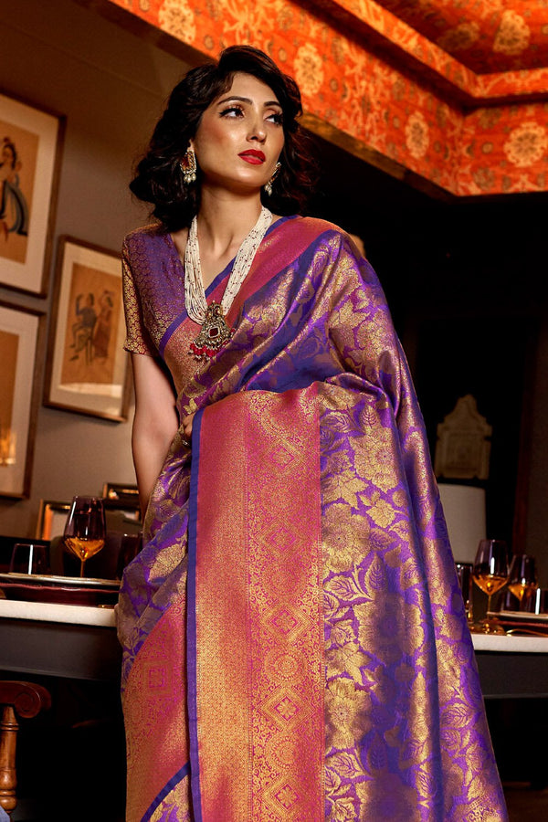 Cosmic Purple and golden Woven Kanjivaram Saree