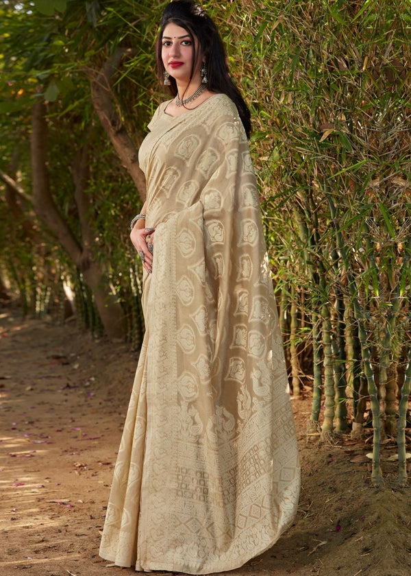 Sorrell Brown Thread Woven Chikankari Saree