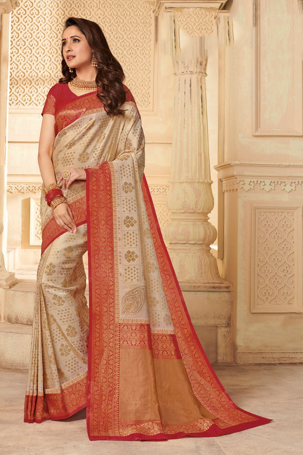 Beige Red Zari Woven Handcrafted Kanjivaram Saree