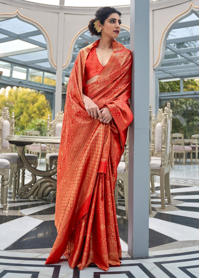 Alizarin Crimson Red Zari Woven Kanjivaram Silk Saree