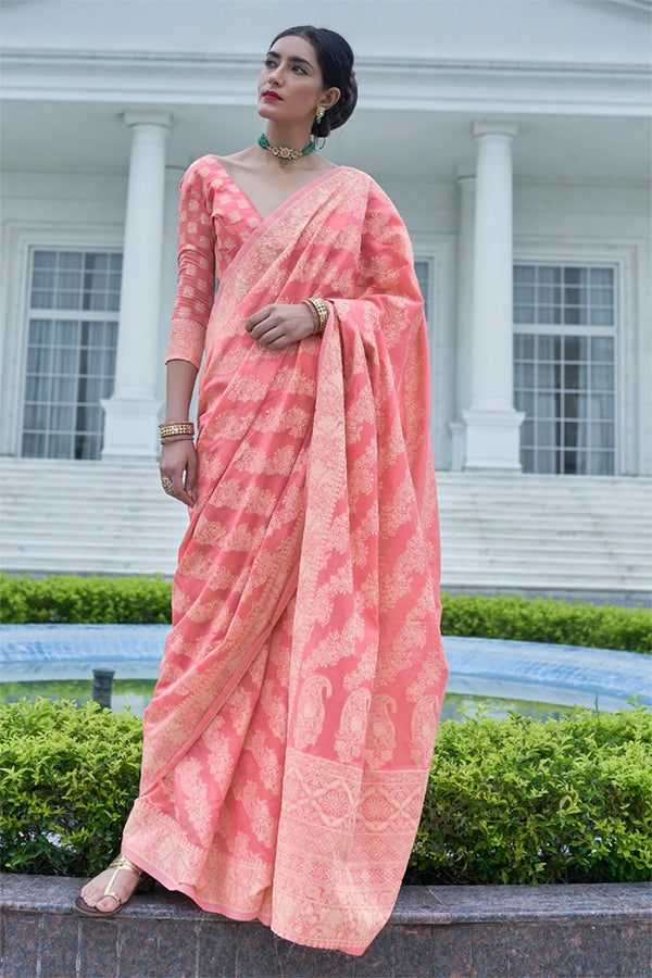 New York Pink Chikankari Woven Saree