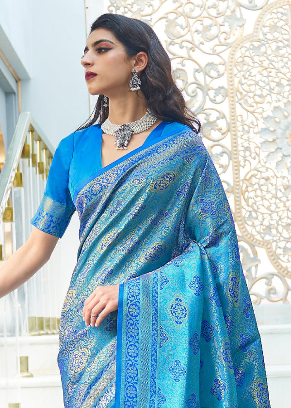 Curious Blue Zari Woven Kanjivaram Silk Saree