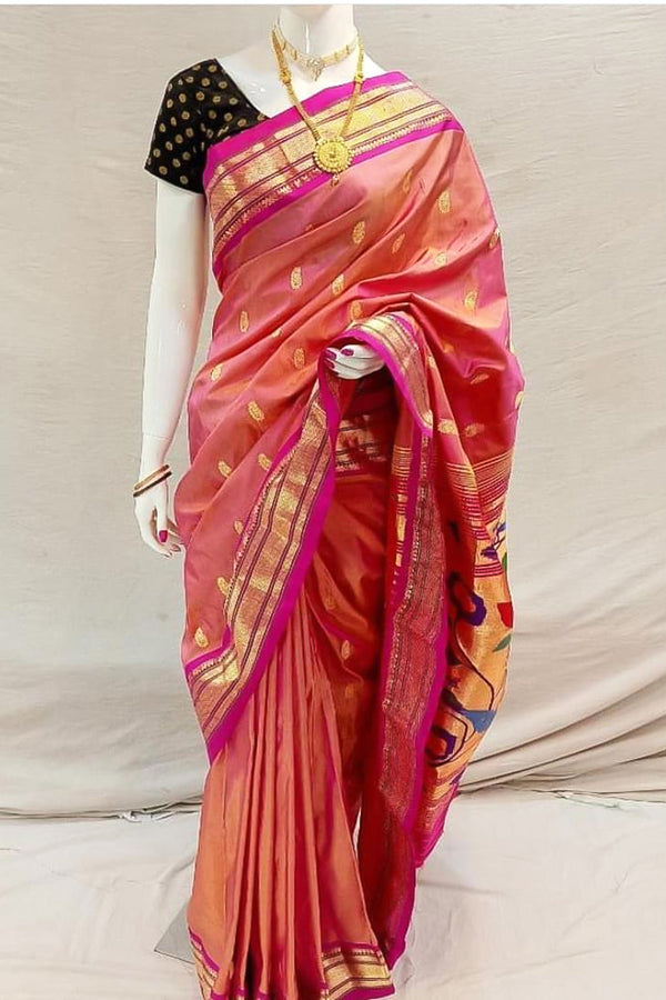 Pink and Orange Shaded Handloom Paithani Saree