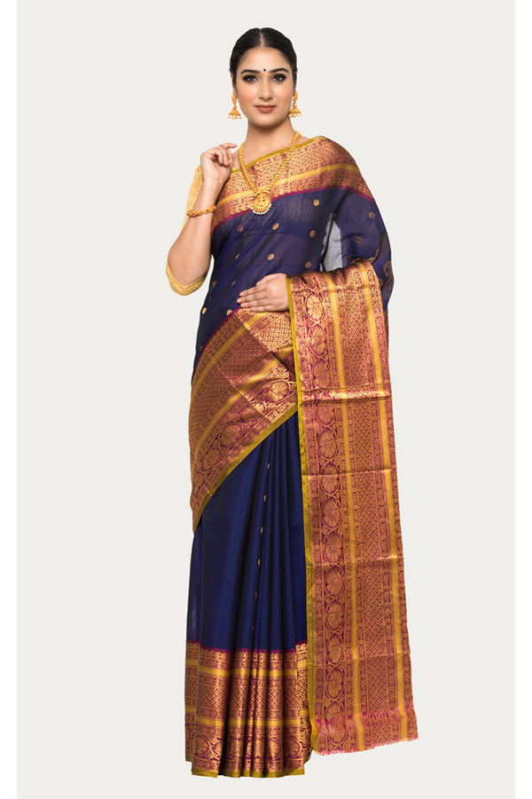 Martinique Purple Handloom Kanjivaram Silk Saree
