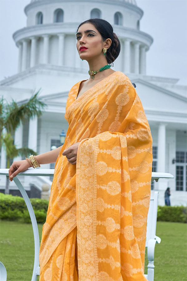 Fire Bush Yellow Chikankari Woven Saree