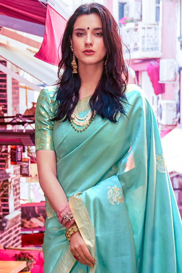 Downy Blue Zari Woven South Silk Saree
