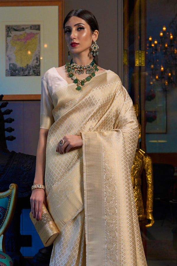 Golden Off White Woven Kanjivaram Saree