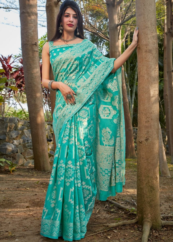 Tradewind Blue Thread Woven Chikankari Saree