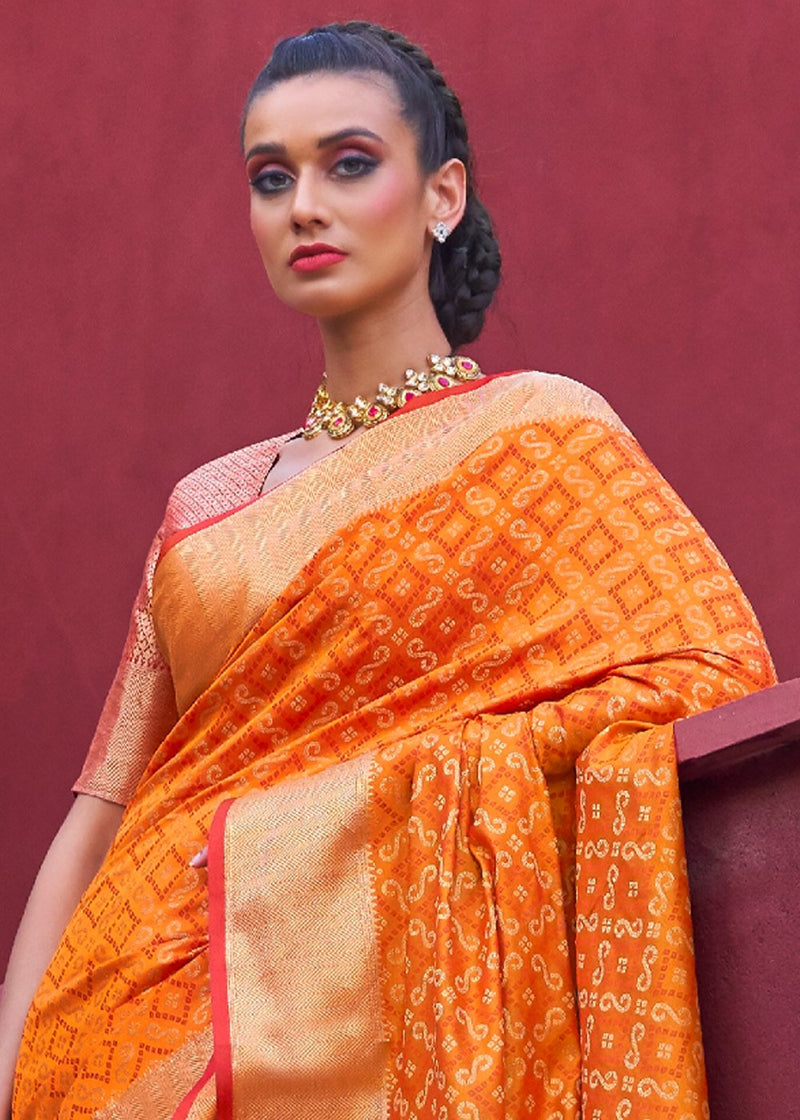 Tango Orange Zari Woven Patola Saree