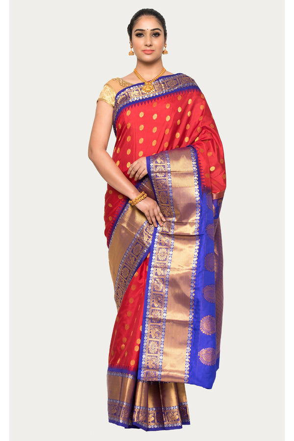 Cardinal Red Handloom Kanjivaram Silk Saree