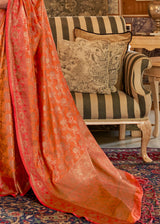 Piper Orange Zari Woven Banarasi Saree