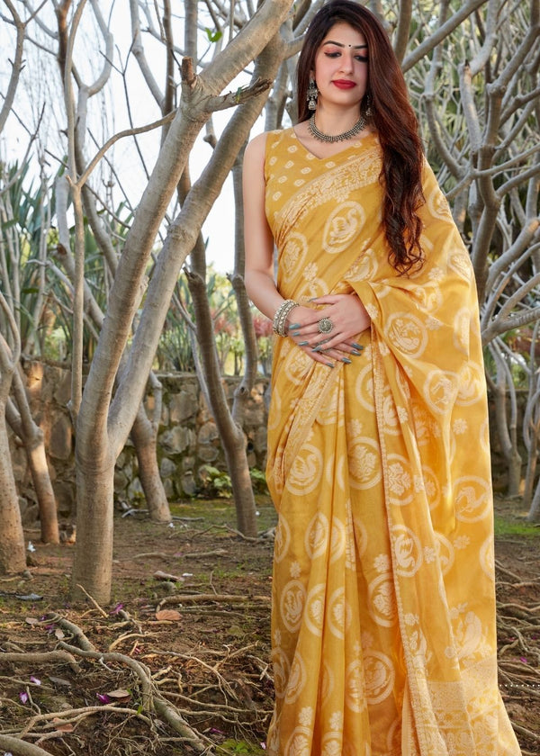 Gold Yellow Thread Woven Chikankari Saree